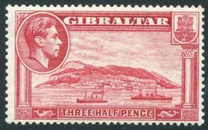 HERRICKSTAMP GIBRALTAR Sc.# 109B KG VI Perf 13 1/2 Stamp. SG# 123A at £250