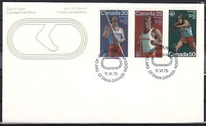 Canada, Scott cat. 664-666 issue. Montreal Olympics. First day cover. ^