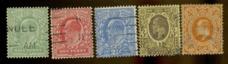 Great Britain #144-150 Used F-VF Cpl creases Cat$120