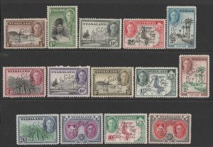 NYASALAND 1945 KGVI Pictorial set ½d to 20/-, SPECIMEN. MNH **. Rare genuine