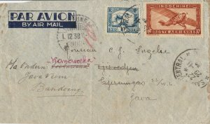 ROW174) Indochina 1938 small airmail re-addressed cover to Java