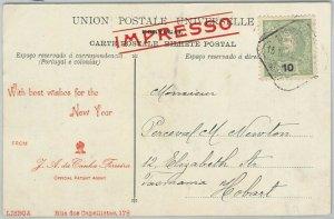 58219 -  PORTUGAL  - POSTAL HISTORY:  POSTCARD to TASMANIA Australia  - 1908