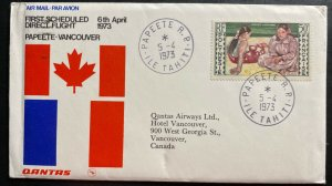 1973 Papeete Tahiti First Direct Flight Airmail Cover FFC To Vancouver Canada