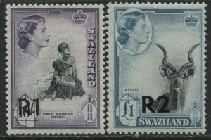 Swaziland  QEII 1961 1R and 2R overprints Type 1 mint o.g.