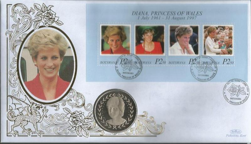 Diana Princess of Wales official Benham coin FDC. Botswana 1/6/98 postmark C187