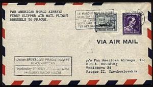 BELGIUM 1946 PanAm first flight cover Brussels to Prague...................98924