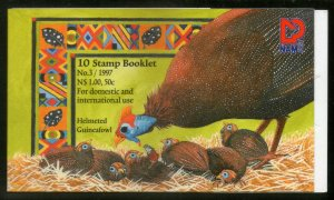 Namibia 1997 Greeting Helmeted Guinea fowl Hen Birds Sc 845a Stamp Booklet 13534