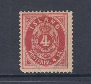 Iceland Sc 2 MLH. 1873 4 Sk. Numeral, scarce