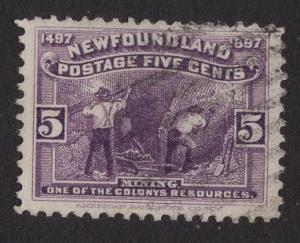 Newfoundland  #65  used   1897  mining  5c