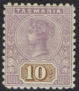 TASMANIA 1906 QV TABLET 10/- WMK CROWN/A PERF 11