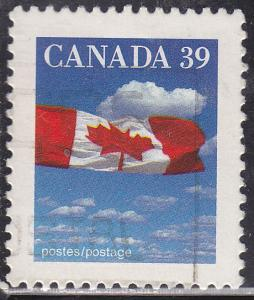 Canada 1166 USED 1989 Flag & Clouds 39¢
