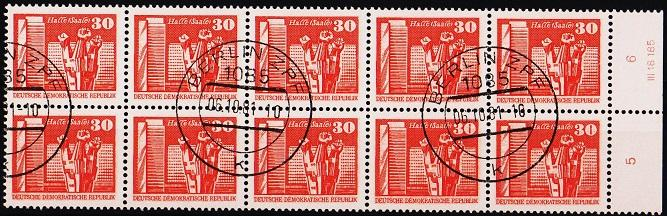 Germany(DDR). 1973 30pf(Block of 10). S.G.E2202. Fine Used(CTO)