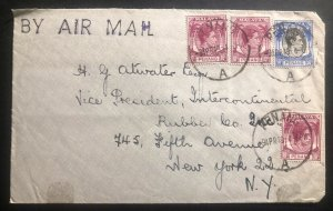 1949 Penang Malaya Airmail Commercial Cover To Rubber Co New York USA