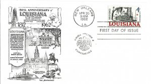 #1197, 4c Louisiana 150th, 2 diff. cachets