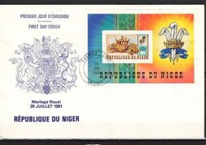Niger, Scott cat. 551. Diana`s Royal Wedding s/sheet on a First day cover.