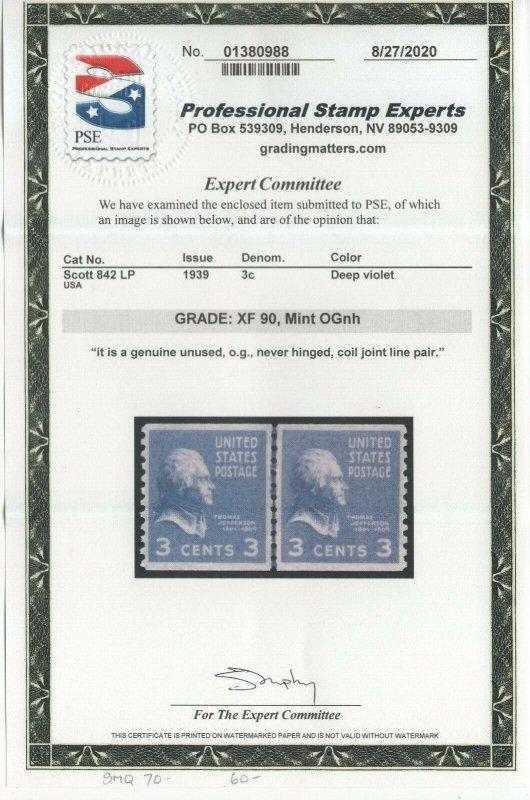 #842 Pair - GP Graded XF 90 Mint NH OG w/PSE Cert. SMQ. $70 (JH 9/17)