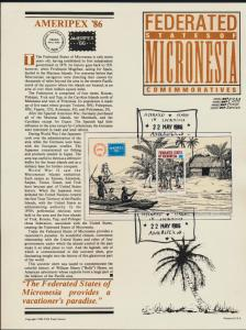 Micronesia C25 on Souvenir Page, Ameripex Cancel - Ship, William Hayes