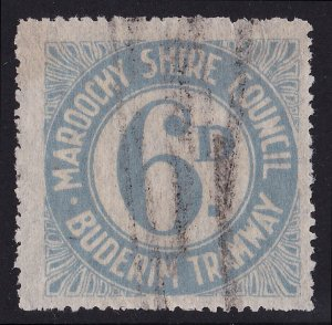 QUEENSLAND RAILWAYS Buderim Tramway 1918 Local Post Numeral 6d EXTREMELY RARE!