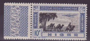 Niger Poste Aerienne 10F n�15 VARIETY Center doubl� ** New without hinge ...