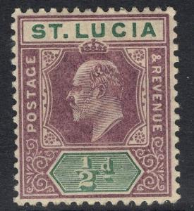 ST.LUCIA SG58 1902 ½d DULL PURPLE & GREEN MTD MINT