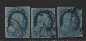 $US Sc#7 RARE, used, F-VF, Doporto Certs, sm. faults, Cv. $2400++