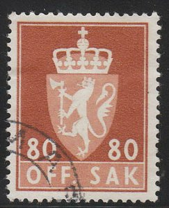 Stamp Norway Official Sc O078 1955 Dienst Coat Arms Used