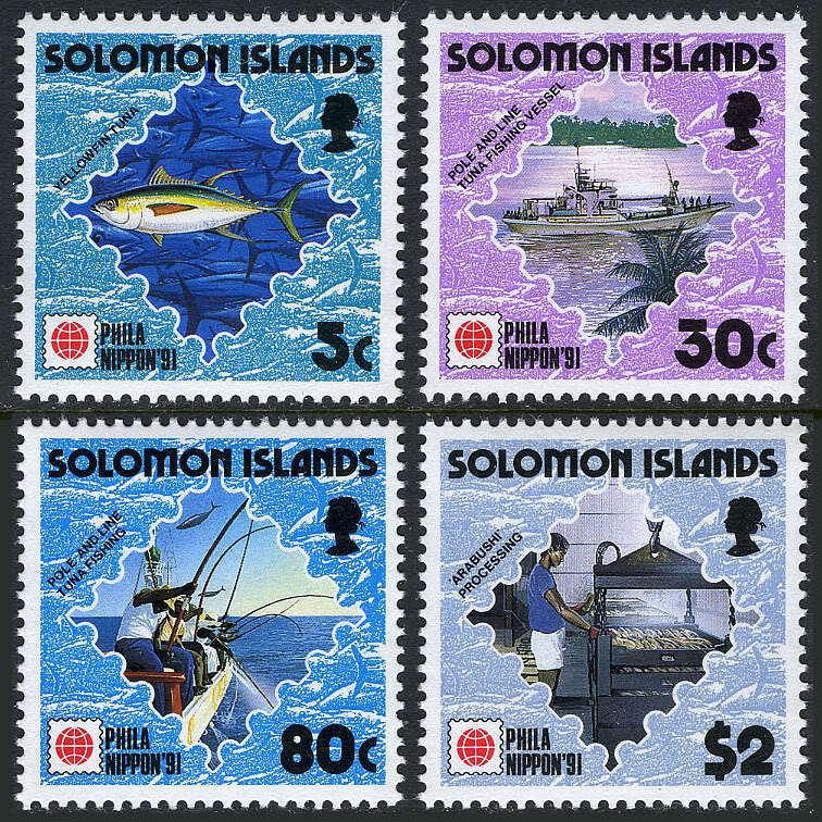 Solomon Islands 703-706,MI 763-766,MNH.PHILA NIPPON-1991.Tuna fishing