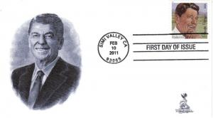 Ronald Reagan First Day Cover, with 4-bar postmark