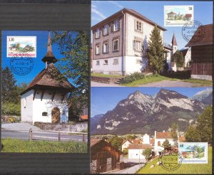Liechtenstein 2000 Art Paintings Landscapes Architecture 5 Maxi Cards FDC 2 sc.