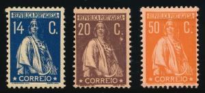 PORTUGAL 224-226 MINT HINGED PERF 12X11 1/2, SCARCE