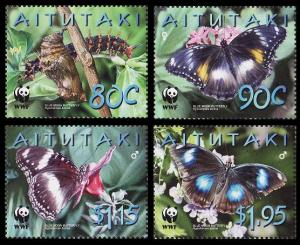 Aitutaki MNH 539-42 Blue Moon Butterfly WWF