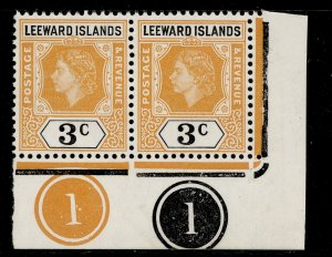 LEEWARD ISLANDS QEII SG129, 3c yellow-orange and black, NH MINT. CONTROL. PAIR