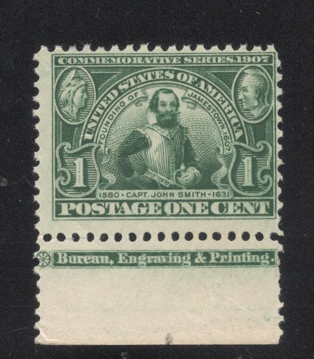 US#328 Green - w/Printers Imprint - O. G. - Stamp N. H.