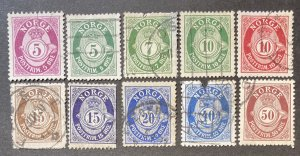 Norway Lot #012221 Post Horn & Crown Used Issues, all different, CV $???