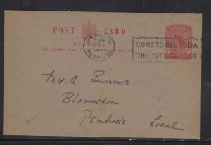 BERMUDA PSC  (P1108B)  1962  1D SLOGAN COME TO BERMUDA  GARDEN CLUB OF BERMUDA