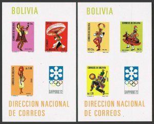 Bolivia C314a-C315a,MNH.Michel Bl.32-33,MNH. Olympics Sapporo-1972.Folk dances.