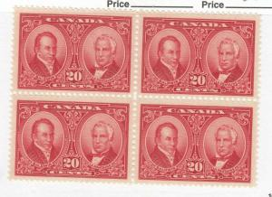 CANADA (MK3355) # 148 VF-2MNH/2LH  20cts BALDWIN /LAFONTAINE BLOCK OF 4 CAT $270