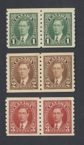 6x Canada Coil   Stamps Pairs of #238 to #240 MH VF Guide Value = $56.00