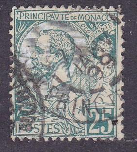 Monaco 1891 Prince Albert I 25cent green F/VF/Used(o) CDS '99