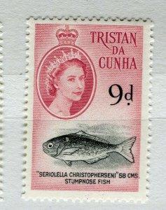 TRISTAN DA CUNHA; 1950s early QEII issue fine Mint hinged 9d. value