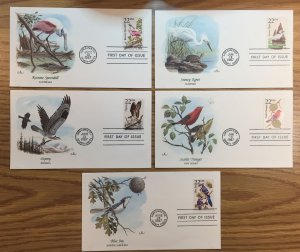 1987 North American Wildlife Issues First Day Covers (5 Covers Total)