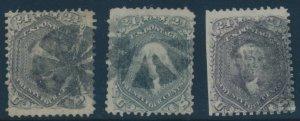 #70, 70b, 70c 24c 1862 RED LILAC, STEEL BLUE, VIOLET FINE (APP) W/ FAULTS AU1083