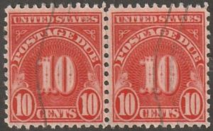 Usa stamp, Scott# J84, used pair, red, joined, bright red # LCJ84