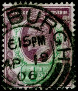SG222, 1½d slate-purple & green, USED, CDS. Cat £24.
