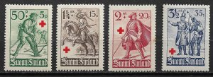 1940 Finland B39-42 Red Cross C/S of 4 MH