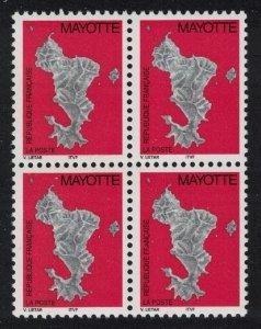 Mayotte Map No value expressed 1v Block of 4 SG#117