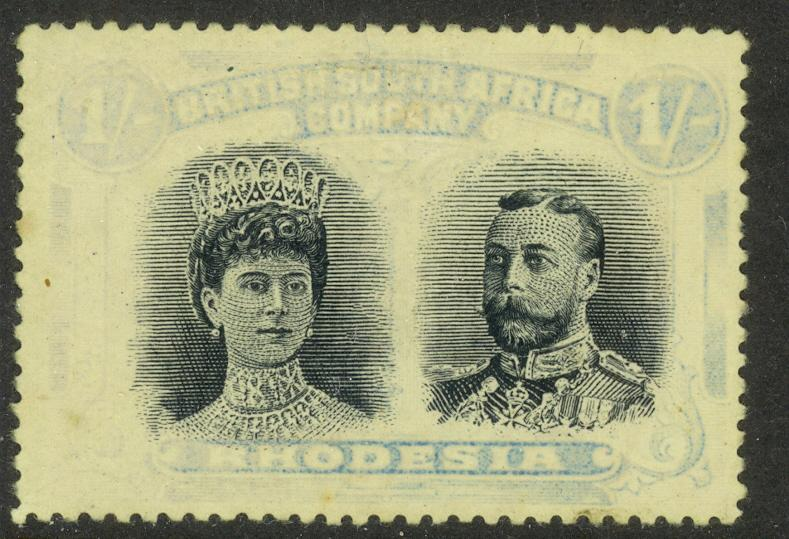 RHODESIA 1910 1sh PERF. 15 DOUBLE HEAD Sc 111b Unused NG