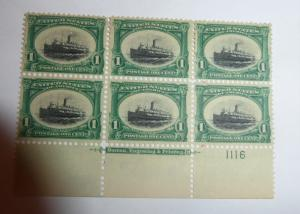 #294 1 cent Pan American expo plate block