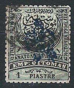Eastern Rumelia 23 1 pi Black & Blue Used  VF 1885 SCV $72.50