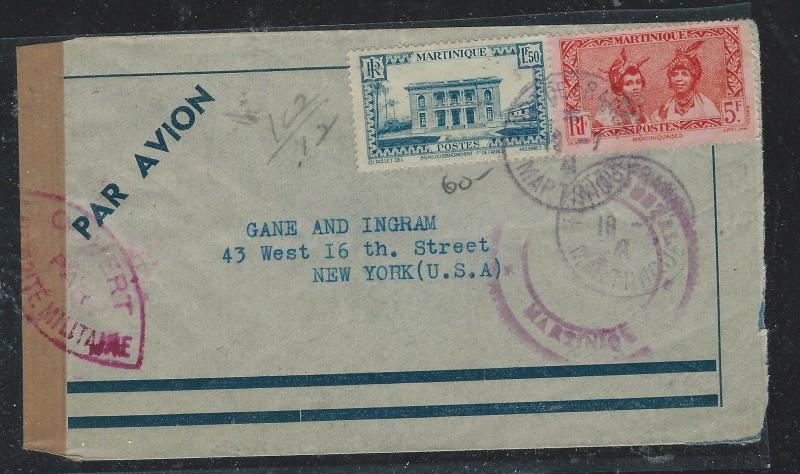 MARTINIQUE  (PP2709B) 1941 CENSORED A/M  TO USA